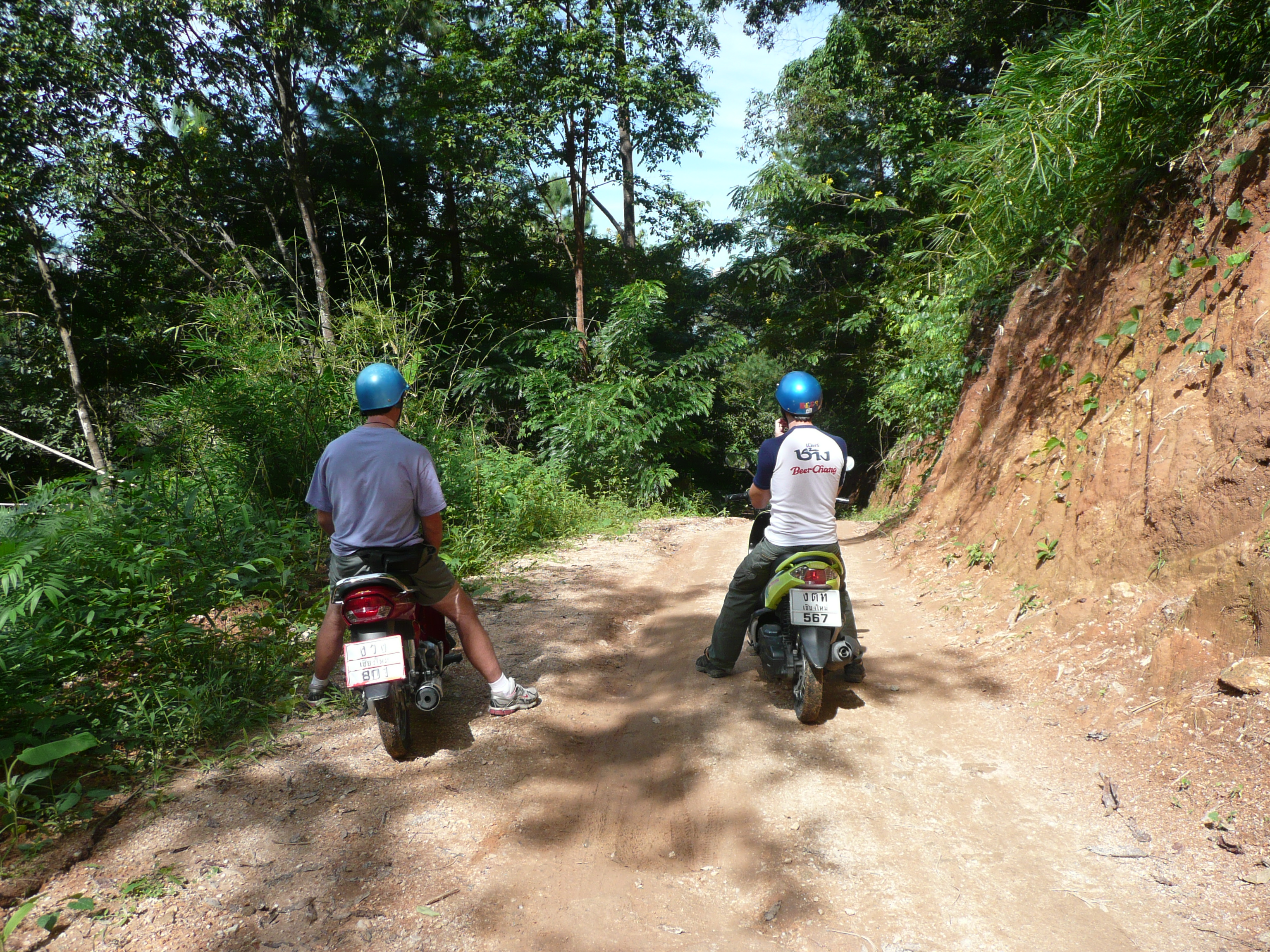 Josh and I take the scooters off-road - Chiang Mai, Thailand